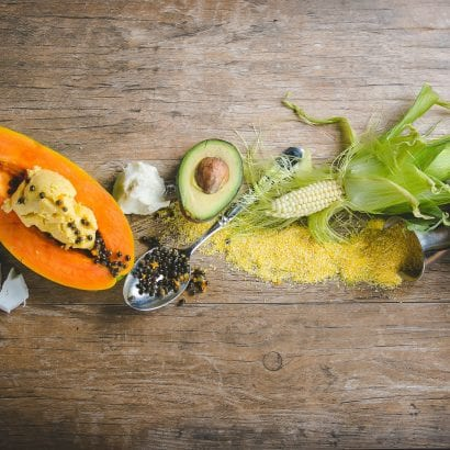 Ingredients for Traditional Jamaica healing papaya body polish, coconut, papaya, avocado and shea butter.