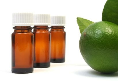 Key lime alongside small bottles