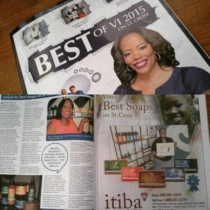 "Magazine articles praising itiba beauty for ""Best Soaps on St. Croix"""