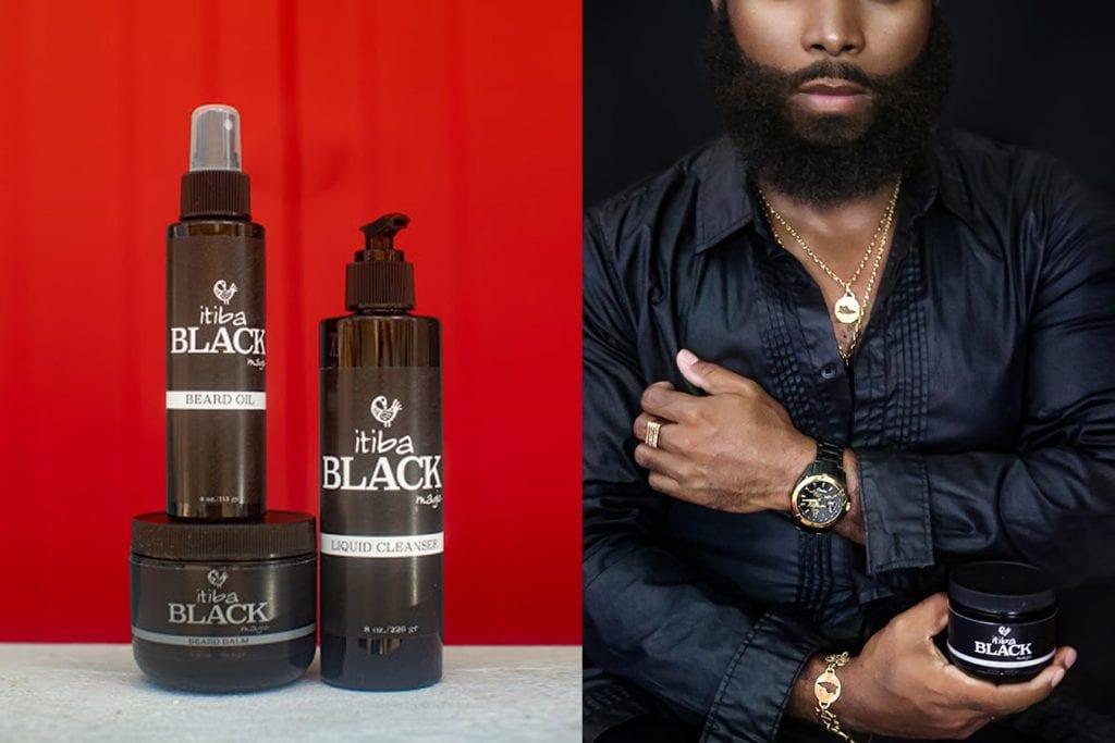 Bottles of beard oil, balm and cleanser for men's skin care